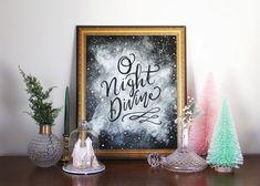 Lily & Val – O Night Divine - Print - Holiday - Christmas Decor - Winter Art Christmas Carol, Christmas Holidays, Christmas Decorations, Holiday Decorating, Winter Home Decor, Winter Art, Lily And Val, Holy Night, Chalkboard Signs