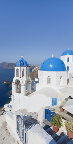 Poster Print-Blue domed churches in the village of Oia (La), Santorini (Thira), Cyclades Poster sized print made in the USA Places Around The World, Oh The Places You'll Go, Around The Worlds, Vacation Places, Places To Travel, Mykonos, Wonderful Places, Beautiful Places, Greek Islands