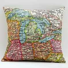 map on a pillow. @Meagan McConnell