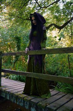 Goldberry Dress - crushed velvet autumn elven dress by Moonmaiden Gothic Clothing UK