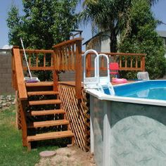 Above Ground Pool Deck Kits Above Ground Pool Steps, Above Ground Pool Landscaping, Backyard Pool Landscaping, In Ground Pools, Landscaping Ideas, Backyard Play, Pergola Ideas, Porch Ideas, Backyard Ideas