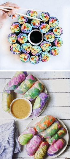 Rainbow Sushi is a fun and colorful twist on traditional sushi. #Ad