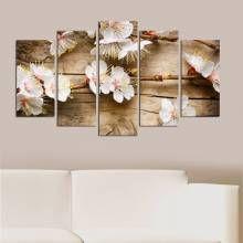 White/Brown Prunus Pensylvanica Five Piece Panel Wall Art