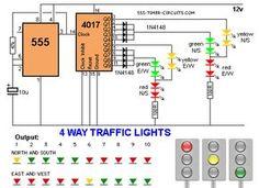4 way Traffic Lights Diagram.