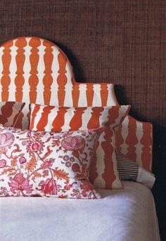 Very groovy matching headboard/cushion idea - Christopher Farr ILSE CRAWFORD'S '36 24 36'