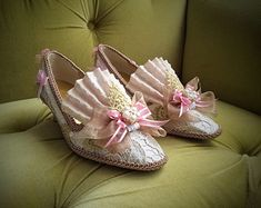 Marie Antoinette Shoes Ivory Lace Silver by HexHeartHollow on Etsy