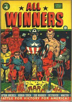 All-Winners Comics #4, spring 1942, cover by Al Avison.