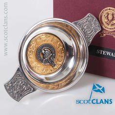 Stewart Clan Crest Quaich. Free worldwide shipping available
