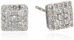 10k White Gold Square Cluster Earrings (0.25 cttw, I-J Color, I2-I3 Clarity)