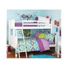 NEW Kidu0027s Twin Over Full Size Bunk Bed Room Furniture Ladder Wood Sturdy  White