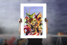 Secret Wars Fine Art Lithograph by Alex Ross   Sideshow Fine Art Prints Marvel Secret Wars, Marvel Fan, Captain Marvel, Drawn Together, Alex Ross, Sideshow Collectibles, Comic Book Artists, Fine Art Paper, American History