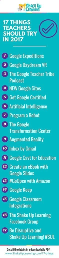 17 Things for Teachers to Try in 2017 - new ways that technology can improve learning in the classroom.