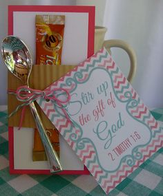 Stir Up the Gift of God Ladies Meeting Favor / Gift ~ Women's Ministry Stir Up The Gift, Secret Sister Gifts, Secret Pal, Secret Santa, Christian Women's Ministry, Church Outreach, Christian Crafts, Church Activities, Church Crafts