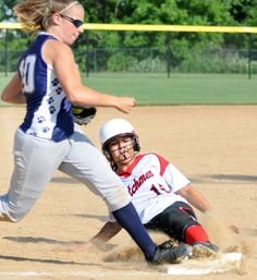 Annville- Cleona's Anique Varela slides safely into third base against Kutztown's Anna Behm during Thursday night's district championship game at Millersville. Kutztown beat Annville- Cleona 5-0.LEBANON DAILY NEWS - ASHLEY WALTER