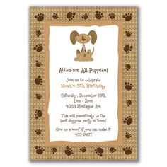 Puppy Dog Invitations Paw Prints  for Kids Birthday by milelj, $20.25