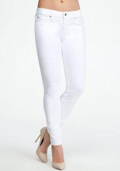 White Floral Jacquard Icon Skinny Jean - Optic White - 27