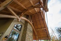 Timber frame projects that can incorporate natural stone and fabricated steel are always one of our favorites. Timber Frame Home Plans, Timber Frame Homes, Natural Stones, House Plans, Cabin, Steel, House Styles, Projects, Home Decor