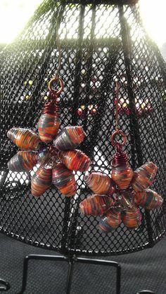 Smokey orange paperbeads flower earrings by tasonya2, via Flickr