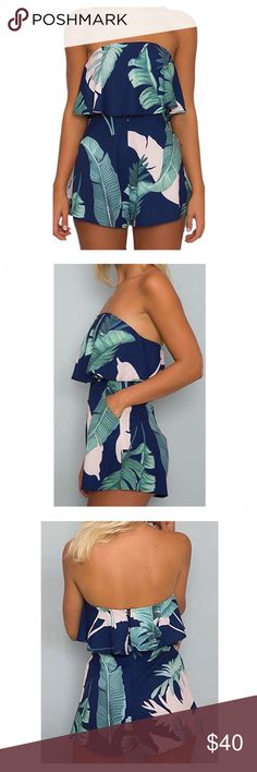 """🆕 tropical sleeveless romper NEW, never worn and in perfect condition. layered at chest, off the shoulder, with usable pockets. tropical print makes for a beautiful summer staple!  details ・medium ・22.5"""" length ・13 - 20"""" bust (stretches) ・16 - 21"""" waist (stretches) ・2.5"""" inseam  materials ・100% polyester  due to lighting- color of actual item may vary slightly from photos.  please don't hesitate to ask questions. happy POSHing 😊  💰 price firm 🚫 i do not trade or take any transactions off…"""