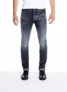 The Bolt is our contemporary take on a classic, cut with a skinny fit. This design is made using premium denim from Candiani, one of the most well respected and sustainable fabric mills in the world. Jeans And Sneakers, Jeans And Boots, Denham Jeans, Mens Casual Jeans, Japanese Denim, Skinny Fit Jeans, Denim Fashion, Jeans Pants, Casual Outfits