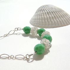Mint Green and Silver Necklace, Spring Fashion, Seaside Seafoam, Spring Fashion by TraceDesigns on Etsy https://www.etsy.com/listing/130820035/mint-green-and-silver-necklace-spring