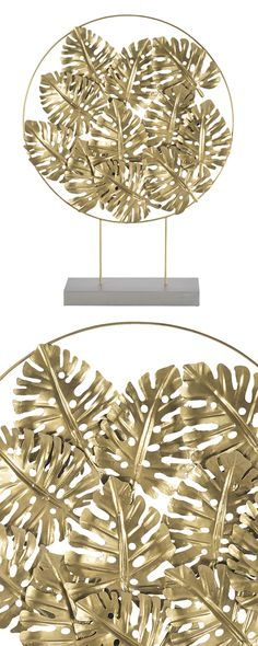 "Display your gold ""metal"" with pride. This modern sculpture combines the earthy look of foliage with a sophisticated gold finish. Its circular pendant features leafy cut-outs and is mounted on top of a... Find the Leaves of Gold Display, as seen in the Tropical Modern Loft Collection at http://dotandbo.com/collections/tropical-modern-loft?utm_source=pinterest"