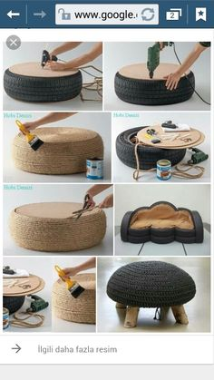 Diy furniture - Turn old tires into beautiful ottomans! The only limit is your imagination craftIdea org Tire Furniture, Diy Furniture Decor, Recycled Furniture, Diy Room Decor, Furniture Plans, Diy Divan, Tyres Recycle, Upcycle, Tire Ottoman