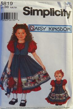 "Simplicity 5819 Child's Dress and Pinafore and Doll Dress for 18"" Doll"