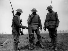 Irish Soldier wearing  captured German Sappenpanzer (body armor) - Pilkem Ridge, 1917.  WWI