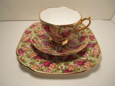 """OLD COUNTRY ROSES CHINTZ COLLECTION"". PRETTY FOOTED CUP AND SAUCER & 7 3/4"" SQUARE PLATE. ROYAL ALBERT. ENGLISH BONE CHINA. 