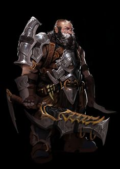 Art by Anthony Jones - Dwarf warrior rocking some pretty serious heavy metal Concept Art World, Game Concept Art, Character Concept, Character Art, Fantasy Races, Fantasy Armor, Fantasy Portraits, Character Portraits, Dwarf Fighter