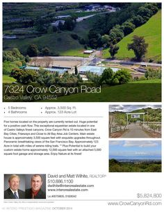 7324 Crow Canyon Rd. Five homes located on the property are currently rented out. Huge potential for a positive cash flow. This exceptional equestrian estate located in one of Castro Valleys finest canyons