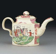 A Staffordshire creamware cylindrical teapot and cover  CIRCA 1775, PROBABLY WILLIAM GREATBATCH  With a flowerspray finial and acanthus-moulded spout, printed and painted with The Prodigal Son receiving his Patrimony to the front, the reverse with The Prodigal Son Taking Leave, within puce panels of green ovals and iron-red flowers