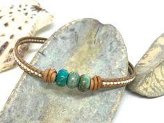 Imperial Jasper Bracelet Beaded Leather Bracelet Natural | Etsy