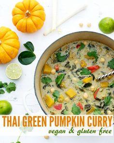 Thai Green Pumpkin Curry [vegan] [gluten free] by The Flexitarian - Soup It Up - FoodnDrink Vegan Bonfire Night Recipes, Autumn Recipes Vegetarian, Vegan Mexican Recipes, Fall Recipes, Healthy Recipes, Healthy Food, Pumpkin Curry, Green Pumpkin, Pumpkin Soup