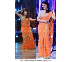 Buy Bollywood Replica Madhuri Dixit Net Saree in Orange and Seablue color in UK, USA, Canada, Mauritius and Fiji through online shopping. This saree comes with the worldwide free shipping offer.