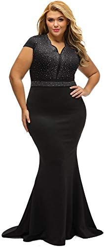 2b93fbd8f9dd New Lalagen Women's Short Sleeve Rhinestone Plus Size Long Cocktail Evening Dress  Women dresses. [