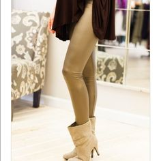 Vegan Leather Leggings Bronze size medium vegan leather leggings Nwot great stretch perfect for an alternative to black . Inquire for other sizes Available in wine and ️black Vivacouture Accessories Hosiery & Socks