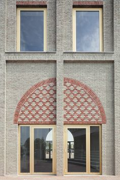 Monadnock used various brickwork techniques to create the patterned facade of this viewing tower, designed as a landmark for the Dutch town of Nieuw-Bergen Brick Design, Facade Design, Bergen, Modern Entrance Door, Brick Images, Brick Detail, Brick Architecture, School Architecture, Brick Facade