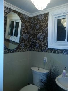 Updated powder room. Trim, mirror, an light fixture