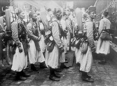 Algerian riflemen in France ready to be deployed to the Western Front.