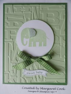 Baby Card with Zoo Babies stamp set. Love the popped up ear on the elephant!
