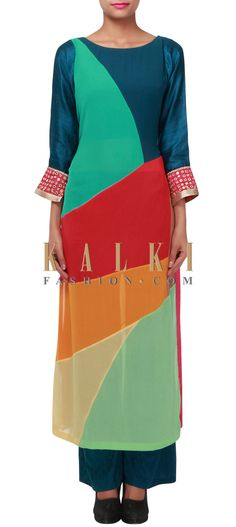 Buy Online from the link below. We ship worldwide (Free Shipping over US$100) http://www.kalkifashion.com/multi-color-straight-suit-adorn-in-mirror-embroidery-only-on-kalki.html