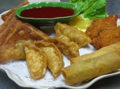 Combination Appetizer :Egg rolls, shrimp tempura, fried won tons, and fried chicken dumplings from Mai Thai Restaurant in Fountain Valley #Food #Shrimp #Egg forked.com