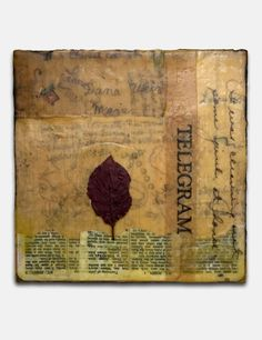 encaustic + leaf + old bible pages