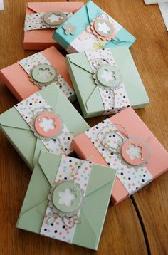 Stampin' Up! ... handmade paper boxes for giving card sets ... used envelopment punch board ...