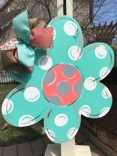 Large Wood Flower Door Hanger – Marjorie B. Davis Home Wooden Crafts, Diy And Crafts, Felt Crafts, Wooden Door Signs, Burlap Door Hangers, Wooden Cutouts, Wooden Flowers, Custom Ribbon, Paint Party