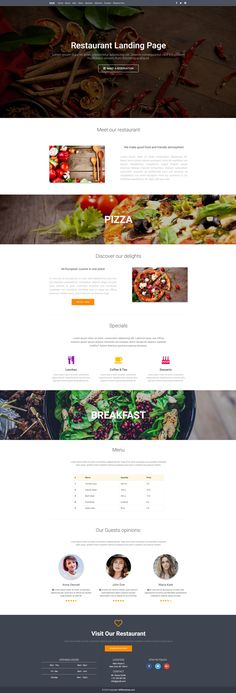 A presentation of restaurant landing page made with Material Design.