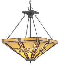 Features:  -Includes chain.  -Tiffany collection.  -Number of lights: 2.  -232 Glass cuts.  -Bulb type: 100W bulb (not included).  Fixture Type: -Geometric pendant.  Style: -Tiffany.  Shade Material: