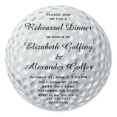 Golf Ball Golfer Sports Wedding Shower Round Paper Invitation Card This unique couples wedding shower Invitation features a golf ball background. Great for a golf fan, coach or golfer. Couples Wedding Shower Invitations, Rehearsal Dinner Invitations, Engagement Party Invitations, Rehearsal Dinners, Wedding Rehearsal, Golfball, Sports Wedding, Golf Wedding, Wedding Dinner